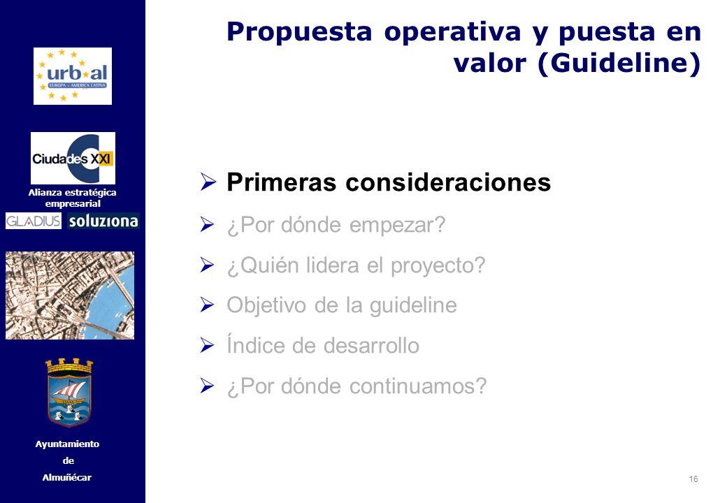 16 Alianza estratégica empresarial Ayuntamiento de Almuñécar Primeras consideraciones ¿Por dónde empezar? ¿Quién lidera el proyecto? Objetivo de la gu