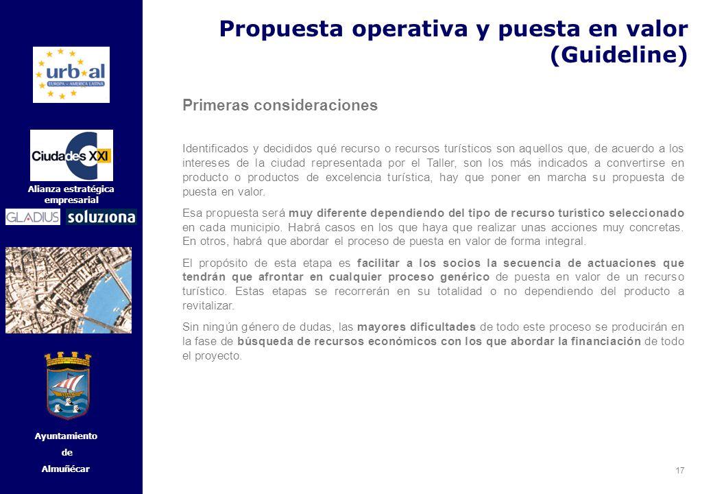 17 Alianza estratégica empresarial Ayuntamiento de Almuñécar Propuesta operativa y puesta en valor (Guideline) Primeras consideraciones Identificados
