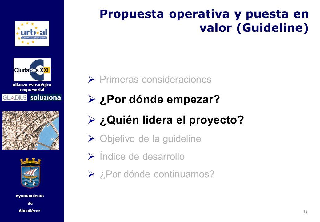 18 Alianza estratégica empresarial Ayuntamiento de Almuñécar Primeras consideraciones ¿Por dónde empezar? ¿Quién lidera el proyecto? Objetivo de la gu