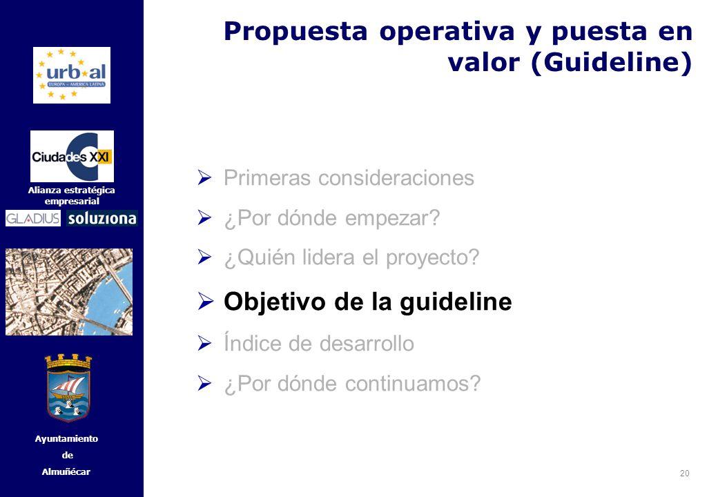 20 Alianza estratégica empresarial Ayuntamiento de Almuñécar Primeras consideraciones ¿Por dónde empezar? ¿Quién lidera el proyecto? Objetivo de la gu