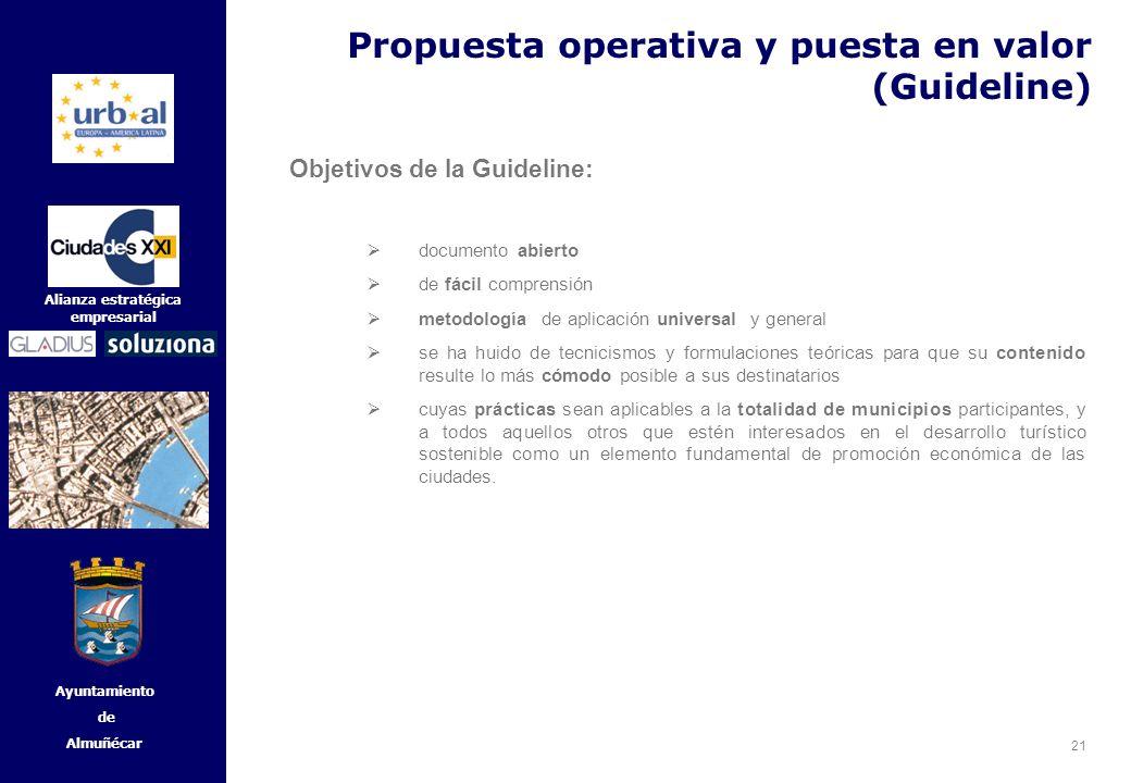 21 Alianza estratégica empresarial Ayuntamiento de Almuñécar Objetivos de la Guideline: documento abierto de fácil comprensión metodología de aplicaci