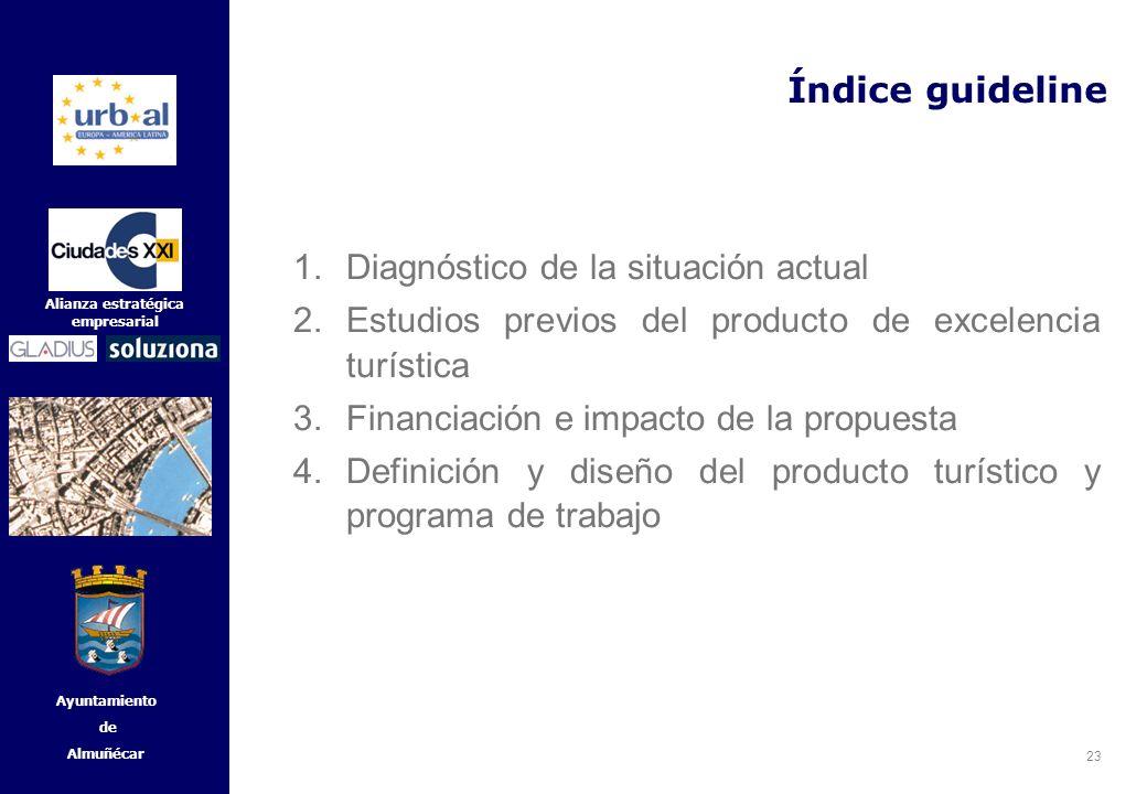 23 Alianza estratégica empresarial Ayuntamiento de Almuñécar Índice guideline 1.Diagnóstico de la situación actual 2.Estudios previos del producto de