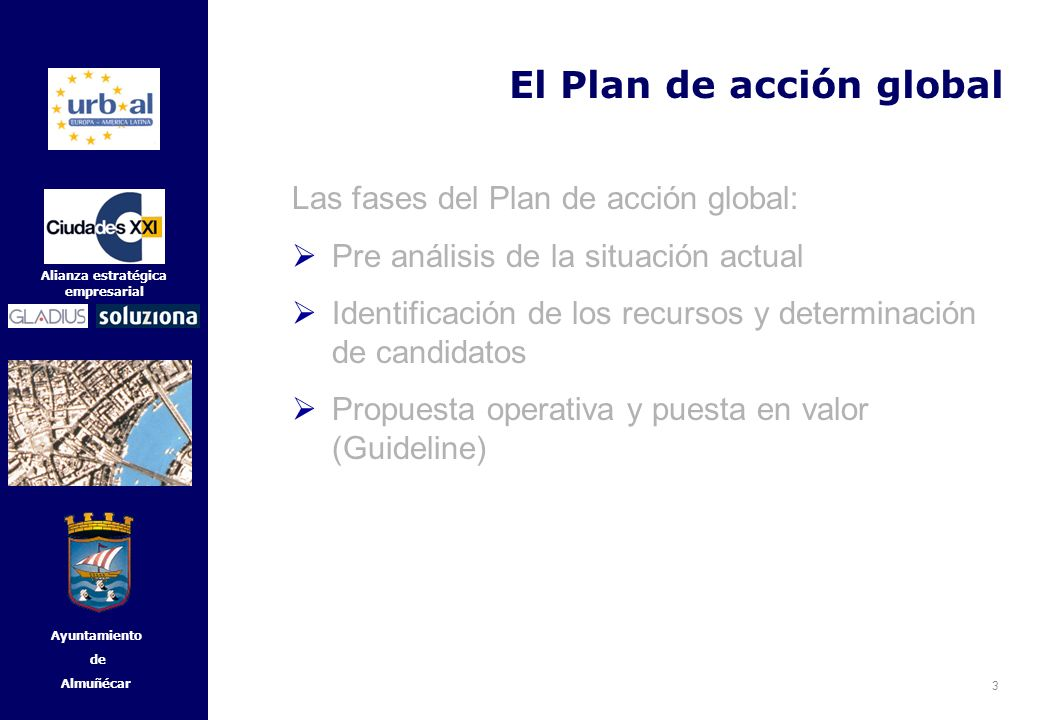 4 Alianza estratégica empresarial Ayuntamiento de Almuñécar El Plan de acción global Las fases del Plan de acción global: Pre análisis de la situación actual Identificación de los recursos y determinación de candidatos Propuesta operativa y puesta en valor (Guideline)