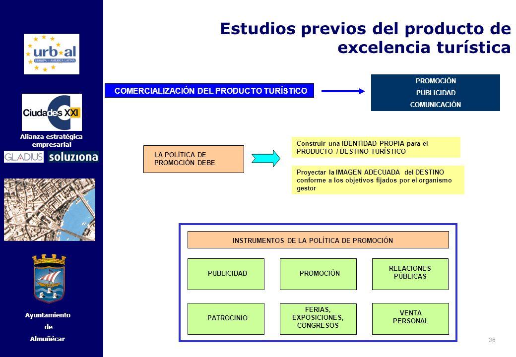 36 Alianza estratégica empresarial Ayuntamiento de Almuñécar LA POLÍTICA DE PROMOCIÓN DEBE Construir una IDENTIDAD PROPIA para el PRODUCTO / DESTINO T