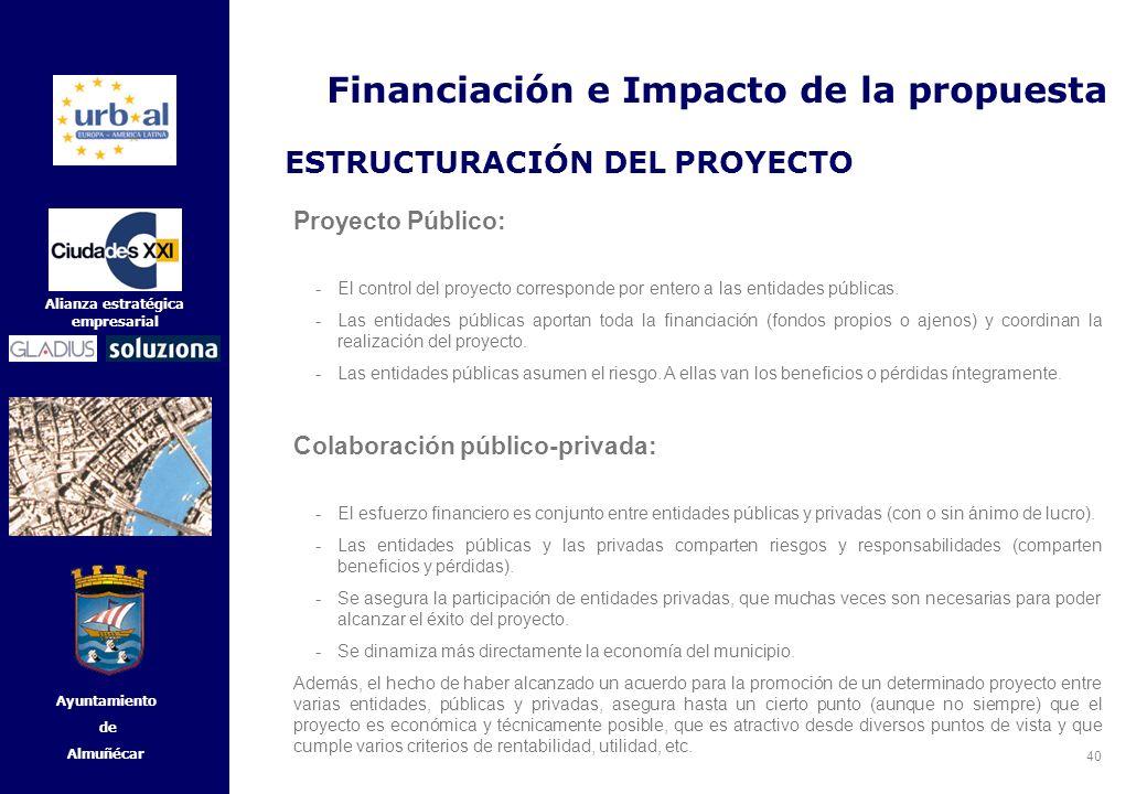 40 Alianza estratégica empresarial Ayuntamiento de Almuñécar Proyecto Público: -El control del proyecto corresponde por entero a las entidades pública