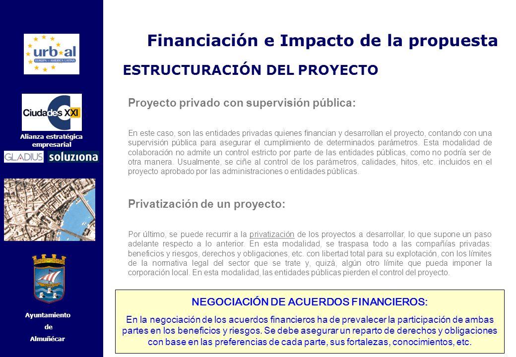 41 Alianza estratégica empresarial Ayuntamiento de Almuñécar Proyecto privado con supervisión pública: En este caso, son las entidades privadas quiene