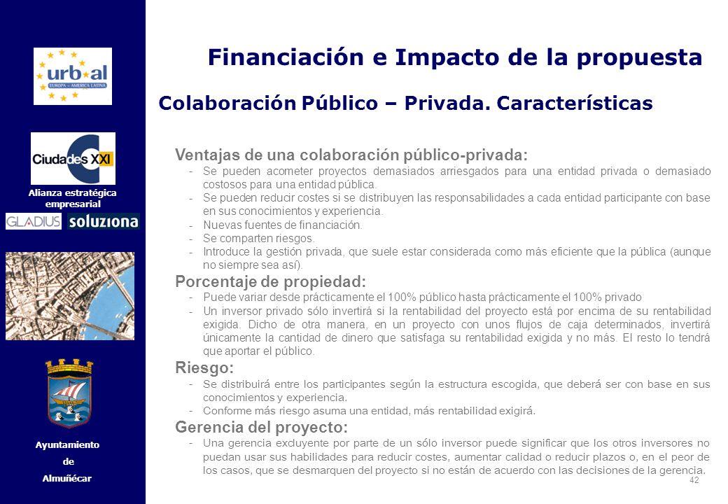 42 Alianza estratégica empresarial Ayuntamiento de Almuñécar Ventajas de una colaboración público-privada: - Se pueden acometer proyectos demasiados a