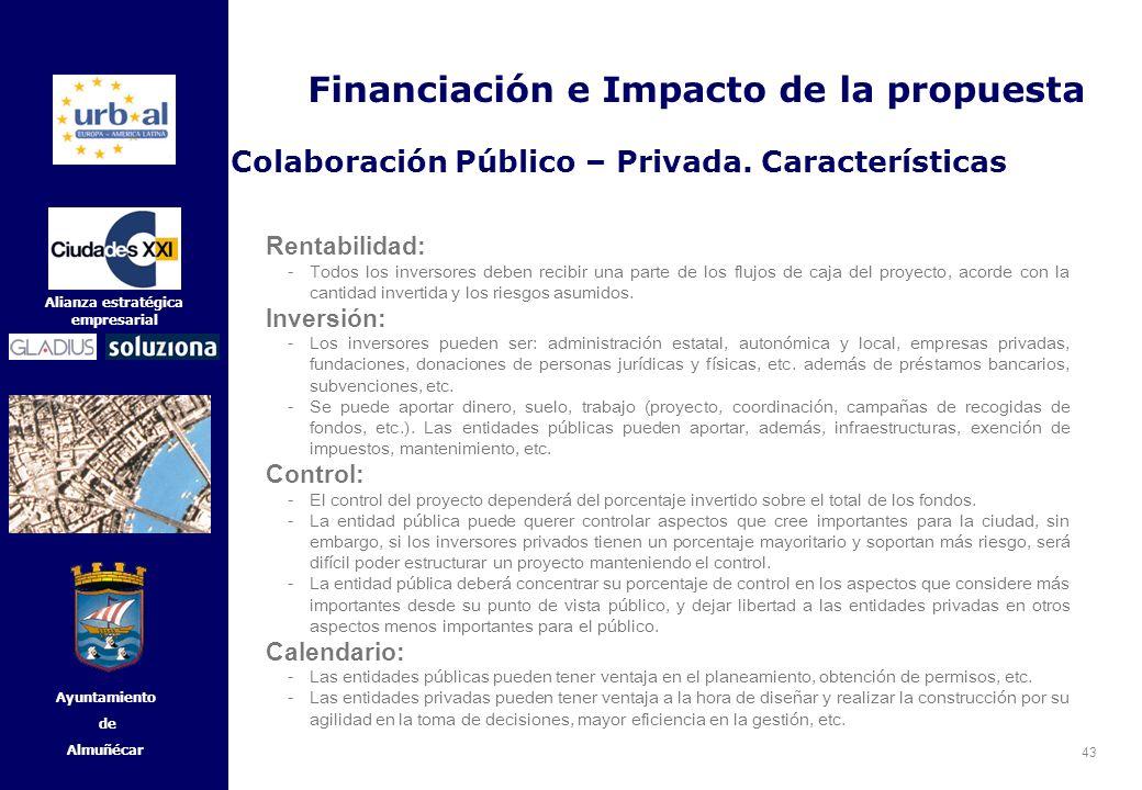 43 Alianza estratégica empresarial Ayuntamiento de Almuñécar Rentabilidad: -Todos los inversores deben recibir una parte de los flujos de caja del pro