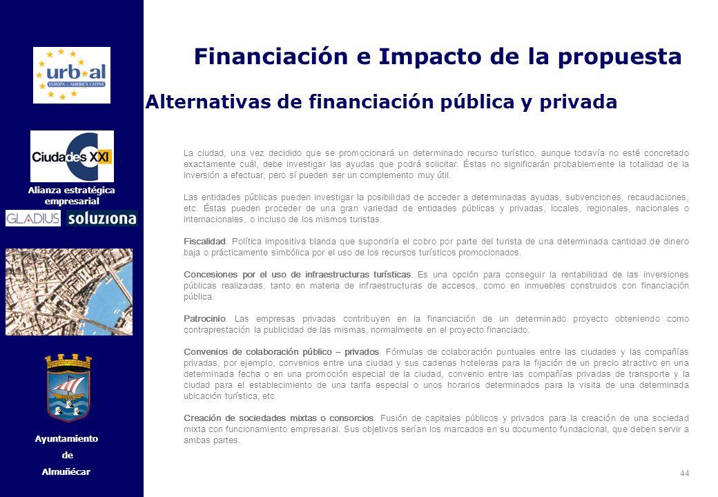 44 Alianza estratégica empresarial Ayuntamiento de Almuñécar La ciudad, una vez decidido que se promocionará un determinado recurso turístico, aunque