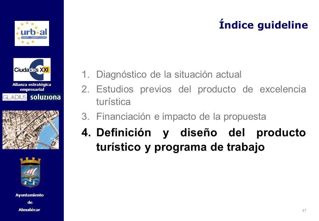 47 Alianza estratégica empresarial Ayuntamiento de Almuñécar Índice guideline 1.Diagnóstico de la situación actual 2.Estudios previos del producto de