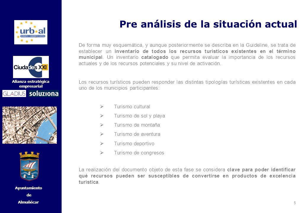 5 Alianza estratégica empresarial Ayuntamiento de Almuñécar Pre análisis de la situación actual De forma muy esquemática, y aunque posteriormente se d