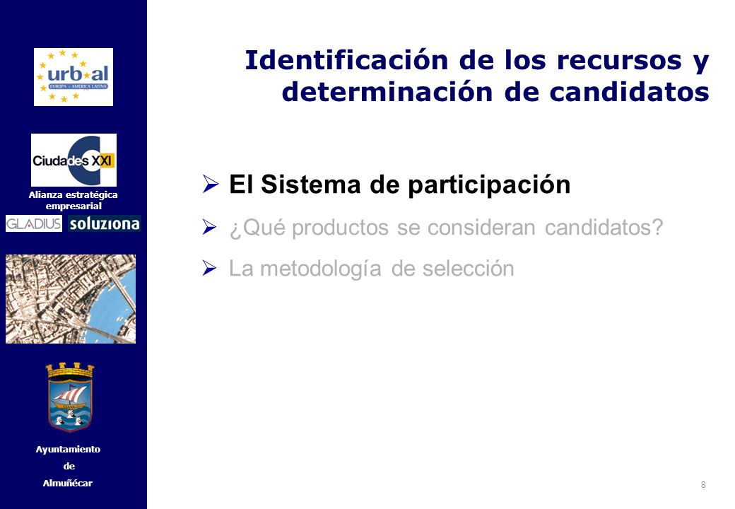 9 Alianza estratégica empresarial Ayuntamiento de Almuñécar Identificación de los recursos y determinación de candidatos El Sistema de participación La selección de qué recursos de una ciudad son los candidatos más idóneos es crucial para el éxito del proyecto.