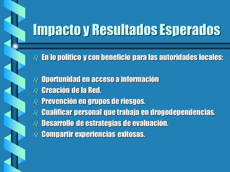 Impacto y Resultados Esperados b En lo político y con beneficio para las autoridades locales: b Oportunidad en acceso a información b Creación de la R