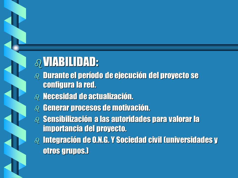 b VIABILIDAD: b Durante el período de ejecución del proyecto se configura la red. b Necesidad de actualización. b Generar procesos de motivación. b Se