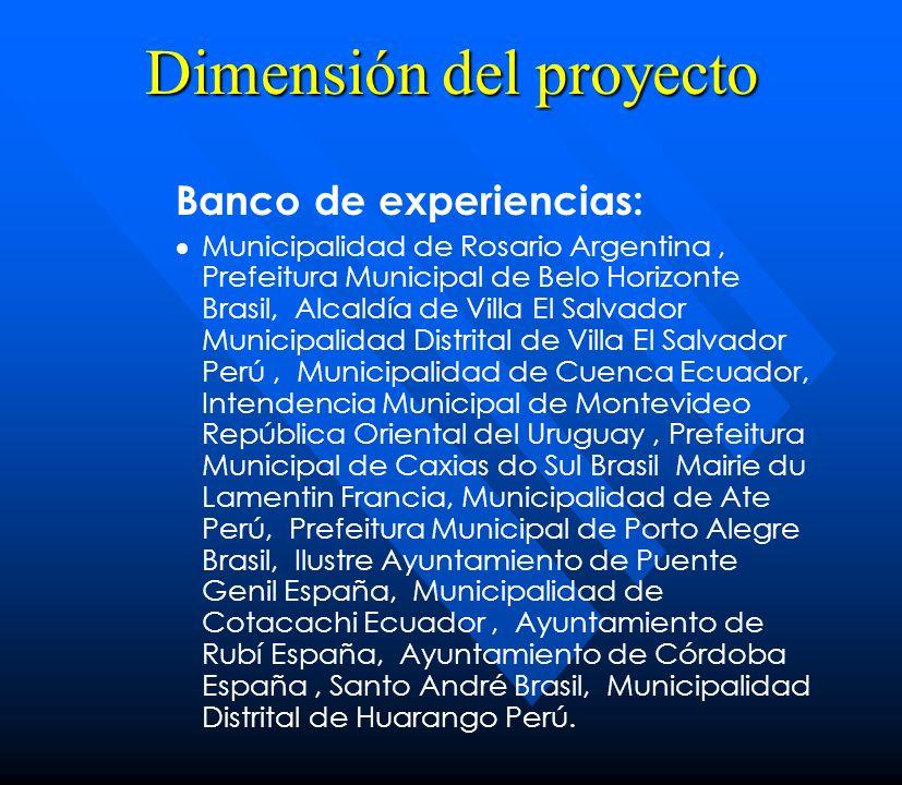 Dimensión del proyecto Banco de experiencias: Municipalidad de Rosario Argentina, Prefeitura Municipal de Belo Horizonte Brasil, Alcaldía de Villa El