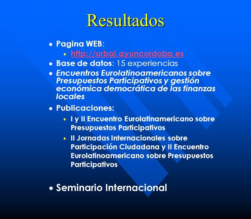 Resultados Pagina WEB : http://urbal.ayuncordoba.es Base de datos : 15 experiencias Encuentros Eurolatinoamericanos sobre Presupuestos Participativos