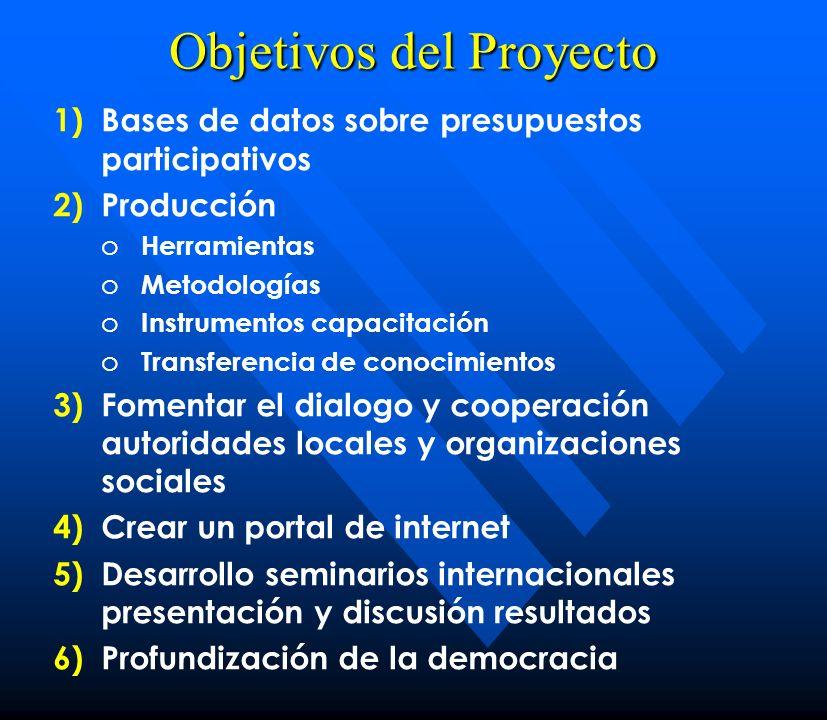 Objetivos del Proyecto 1) 1)Bases de datos sobre presupuestos participativos 2) 2)Producción o o Herramientas o o Metodologías o o Instrumentos capaci