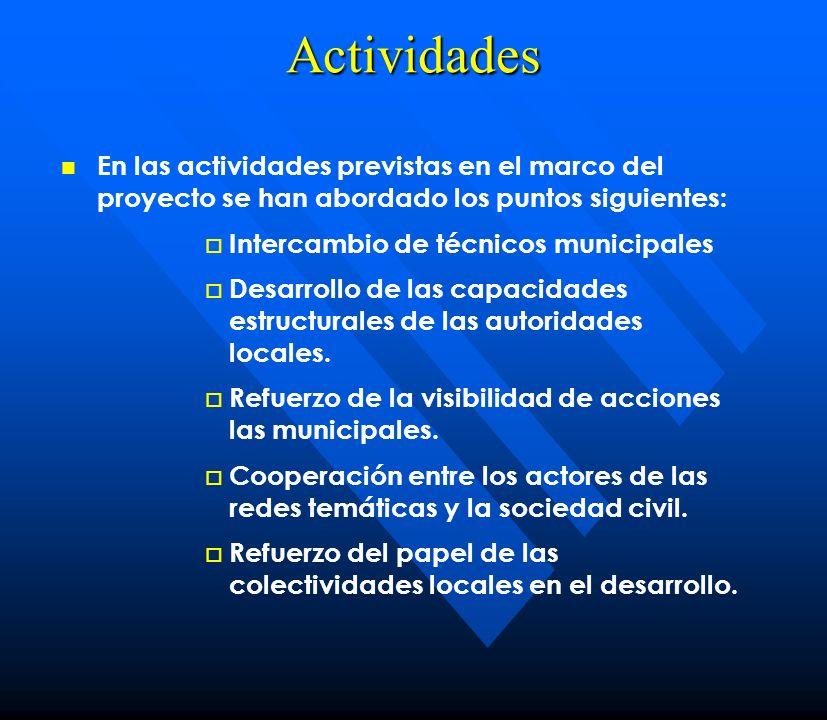 Actividades En las actividades previstas en el marco del proyecto se han abordado los puntos siguientes: Intercambio de técnicos municipales Desarroll