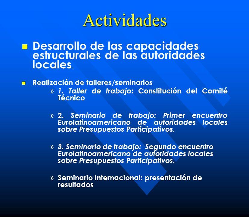 Actividades Desarrollo de las capacidades estructurales de las autoridades locales. Realización de talleres/seminarios » » 1. Taller de trabajo : Cons