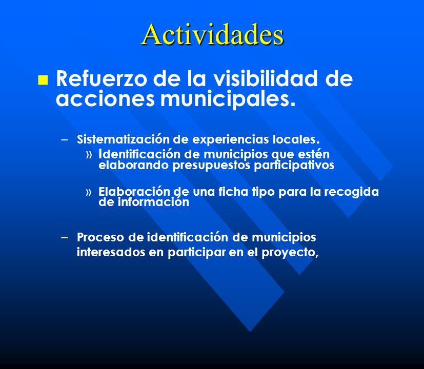 Actividades Cooperación entre los actores de las redes temáticas y la sociedad civil.