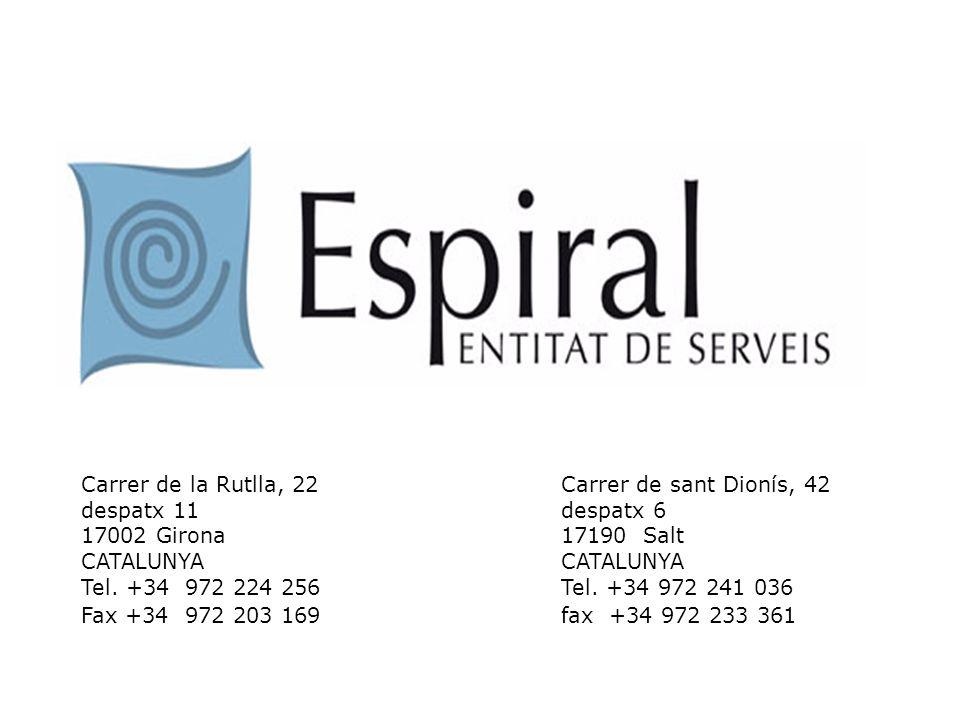 Carrer de la Rutlla, 22Carrer de sant Dionís, 42 despatx 11despatx 6 17002 Girona17190 Salt CATALUNYACATALUNYA Tel. +34 972 224 256Tel. +34 972 241 03