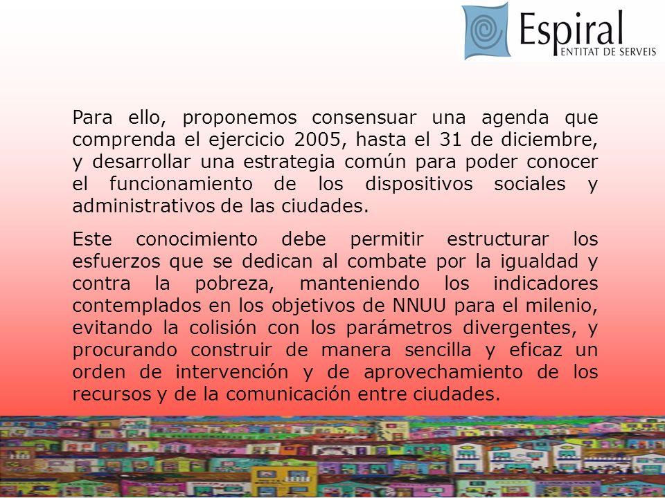 Para ello, proponemos consensuar una agenda que comprenda el ejercicio 2005, hasta el 31 de diciembre, y desarrollar una estrategia común para poder conocer el funcionamiento de los dispositivos sociales y administrativos de las ciudades.