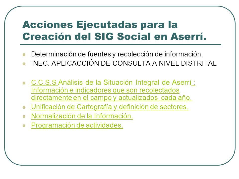 Acciones Ejecutadas para la Creación del SIG Social en Aserrí. Determinación de fuentes y recolección de información. INEC. APLICACCIÓN DE CONSULTA A