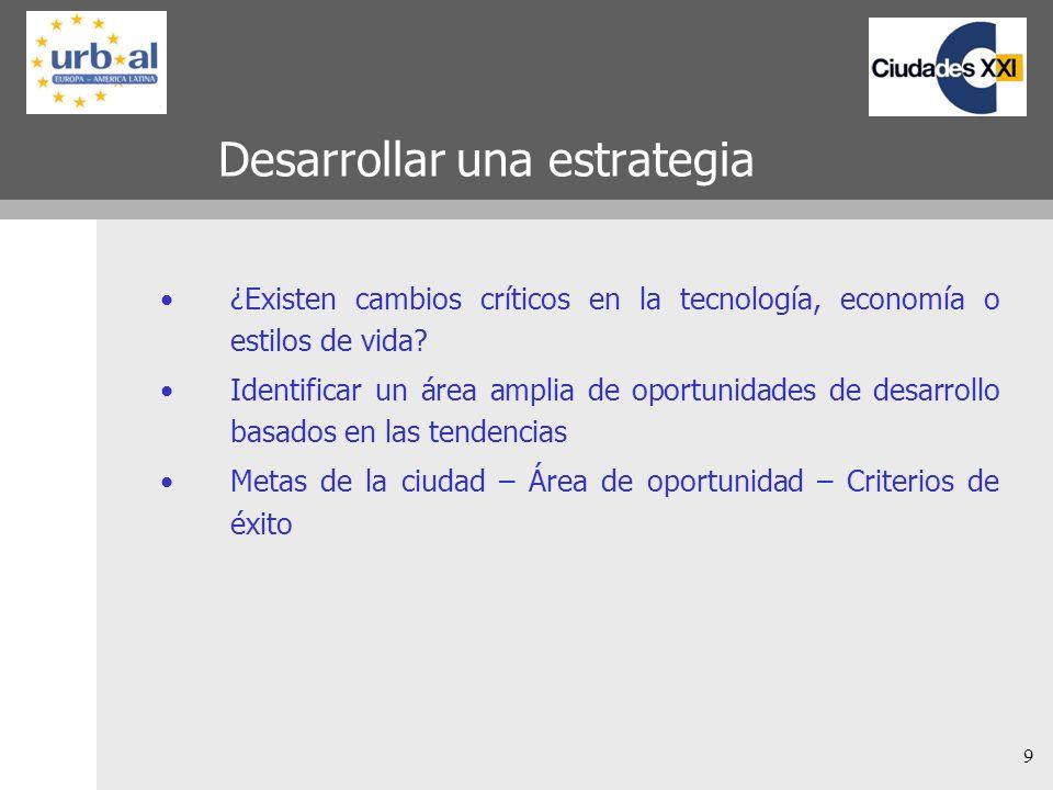 9 Desarrollar una estrategia ¿Existen cambios críticos en la tecnología, economía o estilos de vida.