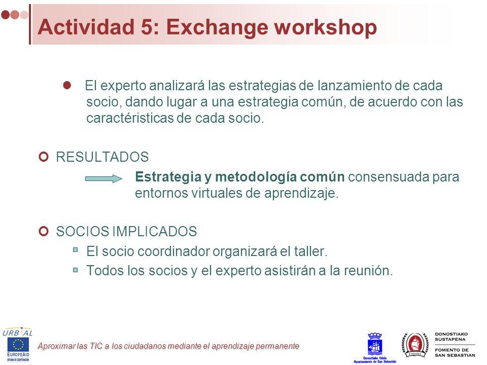 Aproximar las TIC a los ciudadanos mediante el aprendizaje permanente Actividad 5: Exchange workshop El experto analizará las estrategias de lanzamien