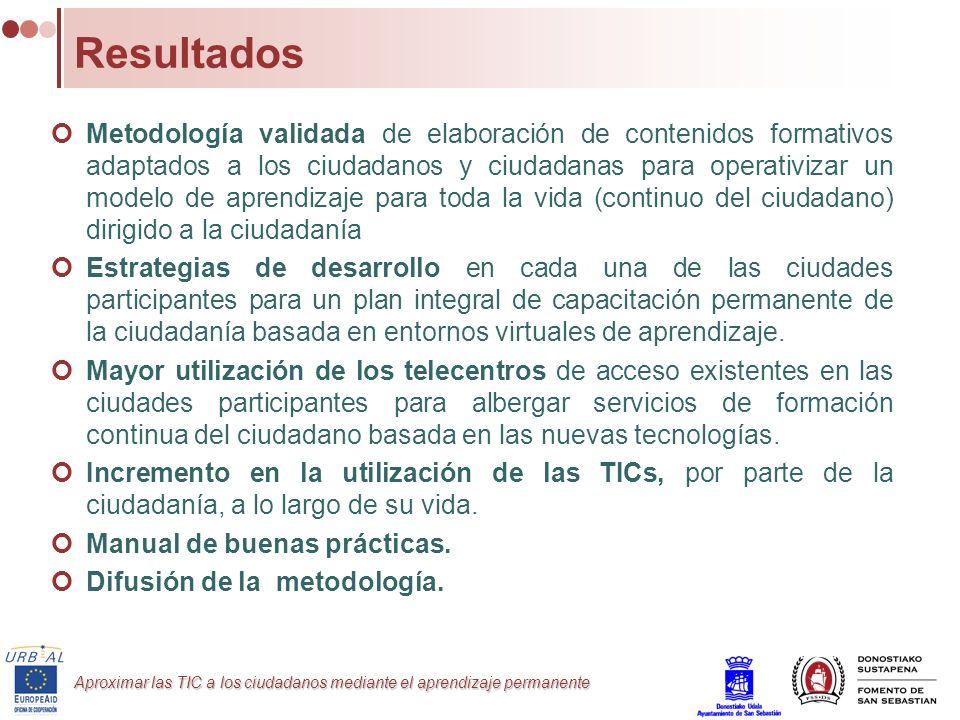 Aproximar las TIC a los ciudadanos mediante el aprendizaje permanente Resultados Metodología validada de elaboración de contenidos formativos adaptado