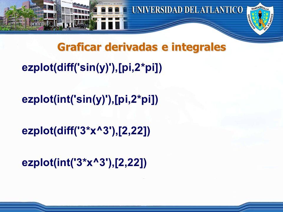 Graficar derivadas e integrales ezplot(diff('sin(y)'),[pi,2*pi]) ezplot(int('sin(y)'),[pi,2*pi]) ezplot(diff('3*x^3'),[2,22]) ezplot(int('3*x^3'),[2,2