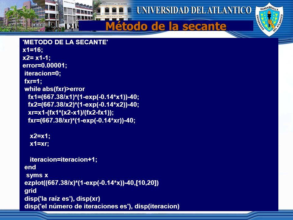 Método de la secante 'METODO DE LA SECANTE' x1=16; x2= x1-1; error=0.00001; iteracion=0; fxr=1; while abs(fxr)>error fx1=(667.38/x1)*(1-exp(-0.14*x1))