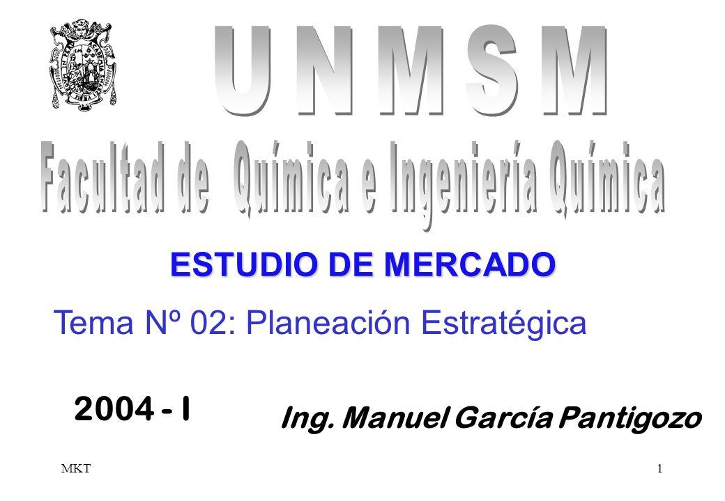 MKT1 Ing. Manuel García Pantigozo 2004 - I ESTUDIO DE MERCADO Tema Nº 02: Planeación Estratégica