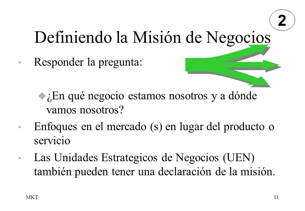 MKT11 Definiendo la Misión de Negocios Responder la pregunta: ¿En qué negocio estamos nosotros y a dónde vamos nosotros? Enfoques en el mercado (s) en
