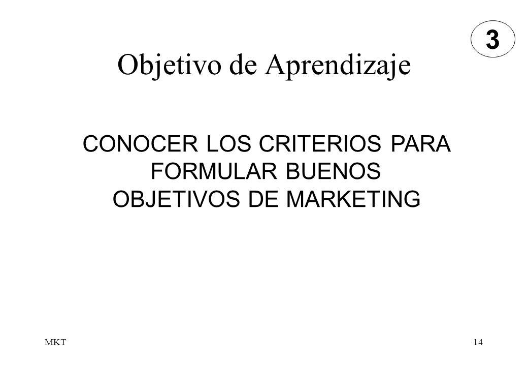 MKT14 Objetivo de Aprendizaje CONOCER LOS CRITERIOS PARA FORMULAR BUENOS OBJETIVOS DE MARKETING 3