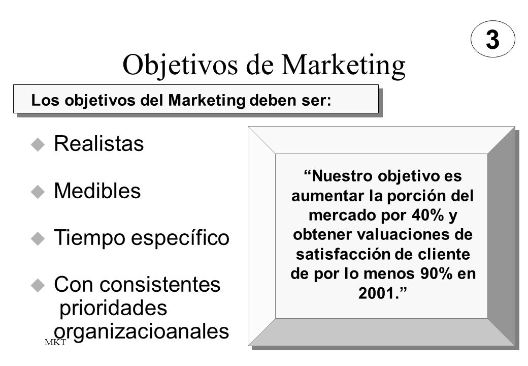 MKT16 Objetivos de Marketing 3 Los objetivos del Marketing deben ser: Realistas Medibles Tiempo específico Con consistentes prioridades organizacioana