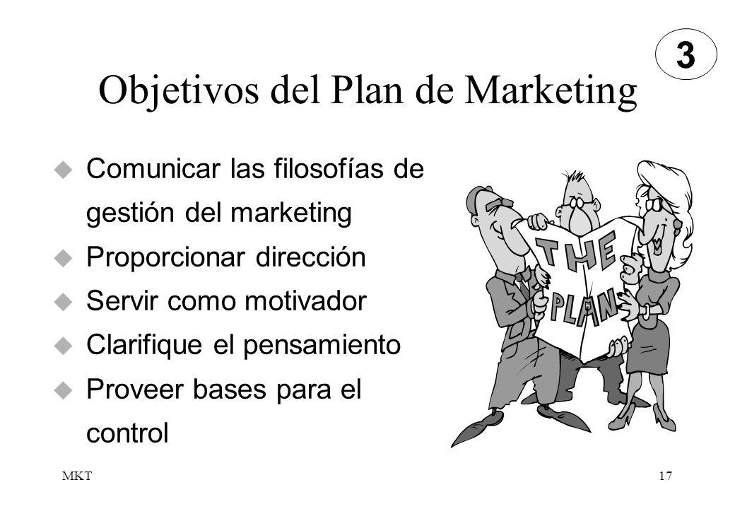 MKT17 Objetivos del Plan de Marketing Comunicar las filosofías de gestión del marketing Proporcionar dirección Servir como motivador Clarifique el pen