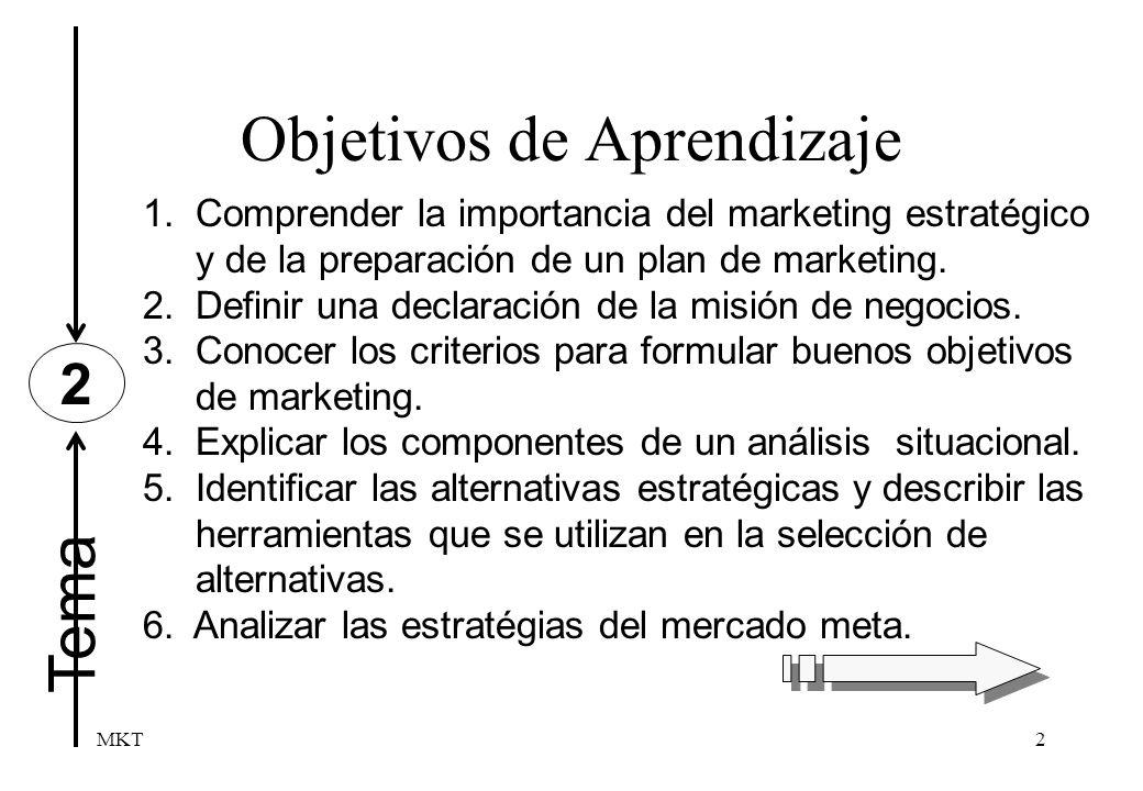 MKT2 Tema Objetivos de Aprendizaje 2 1.Comprender la importancia del marketing estratégico y de la preparación de un plan de marketing. 2. Definir una
