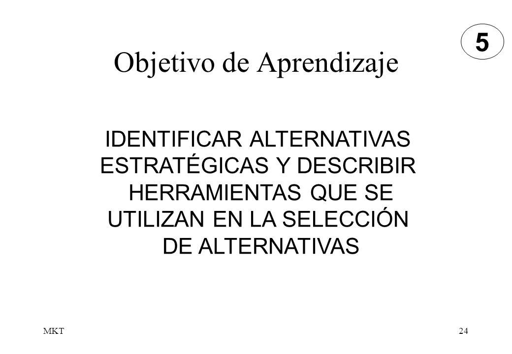 MKT24 Objetivo de Aprendizaje IDENTIFICAR ALTERNATIVAS ESTRATÉGICAS Y DESCRIBIR HERRAMIENTAS QUE SE UTILIZAN EN LA SELECCIÓN DE ALTERNATIVAS 5