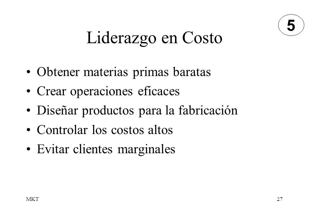 MKT27 Liderazgo en Costo Obtener materias primas baratas Crear operaciones eficaces Diseñar productos para la fabricación Controlar los costos altos E