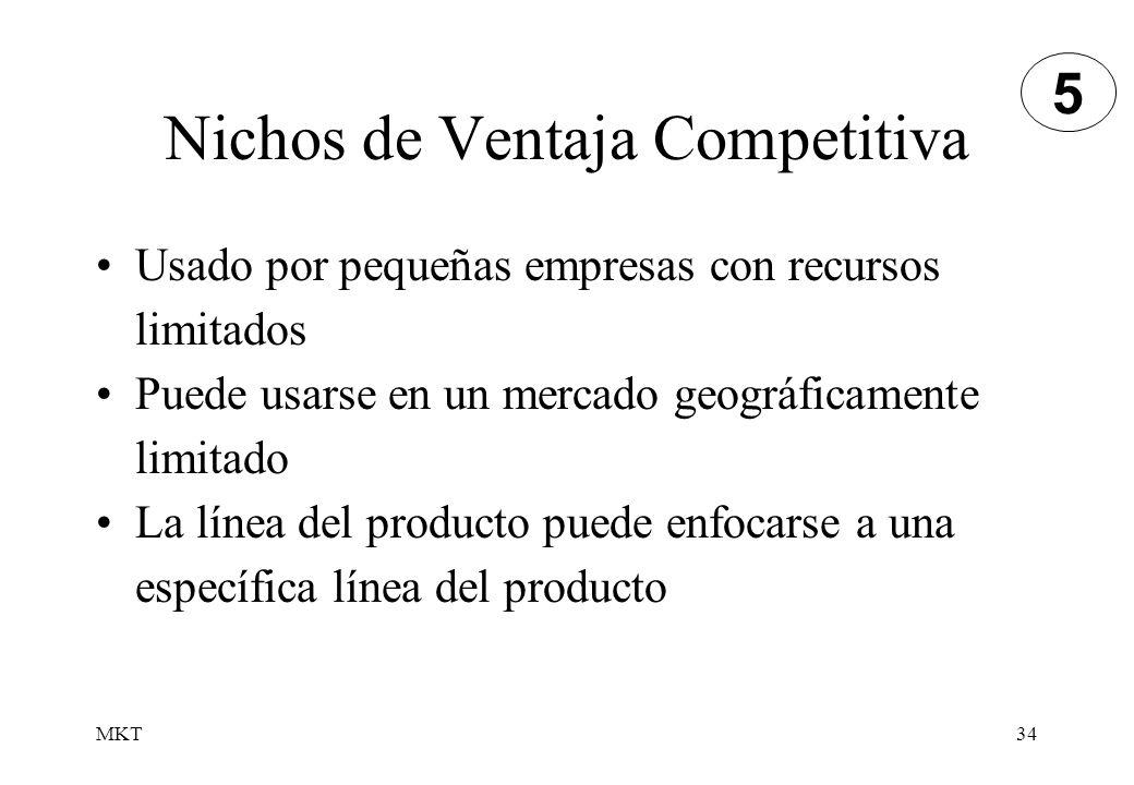 MKT34 Nichos de Ventaja Competitiva Usado por pequeñas empresas con recursos limitados Puede usarse en un mercado geográficamente limitado La línea de
