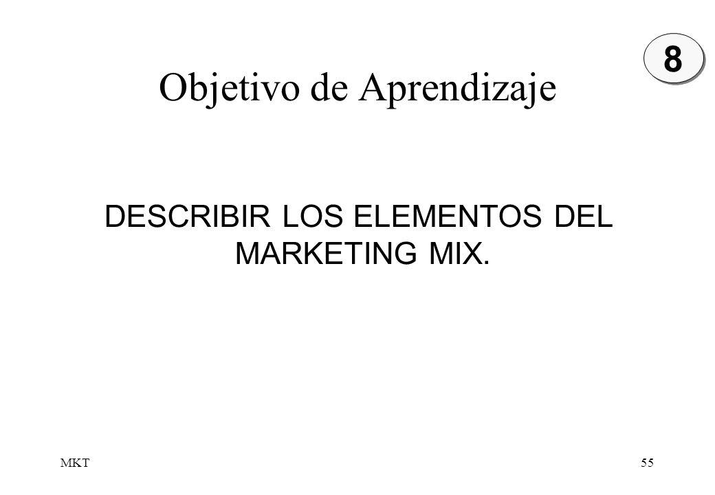 MKT55 Objetivo de Aprendizaje DESCRIBIR LOS ELEMENTOS DEL MARKETING MIX. 8 8