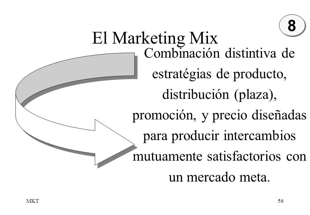 MKT56 Combinación distintiva de estratégias de producto, distribución (plaza), promoción, y precio diseñadas para producir intercambios mutuamente sat