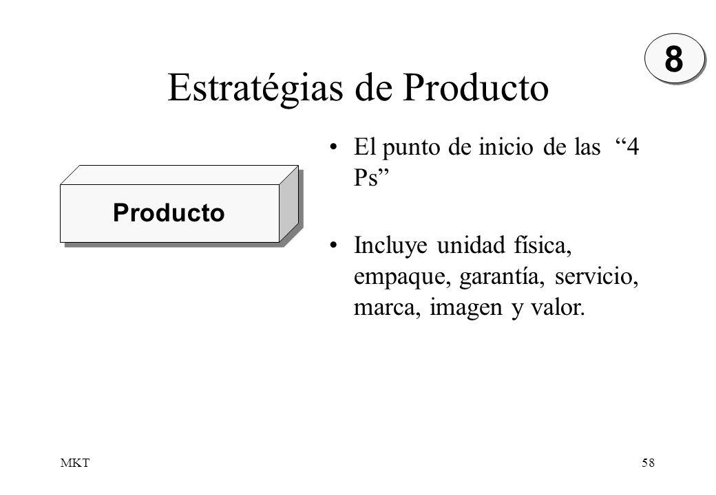 MKT58 Estratégias de Producto Producto 8 8 El punto de inicio de las 4 Ps Incluye unidad física, empaque, garantía, servicio, marca, imagen y valor.