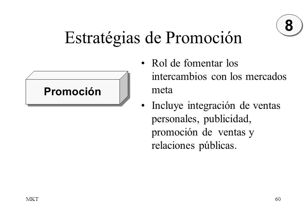 MKT60 Estratégias de Promoción 8 8 Promoción Rol de fomentar los intercambios con los mercados meta Incluye integración de ventas personales, publicid