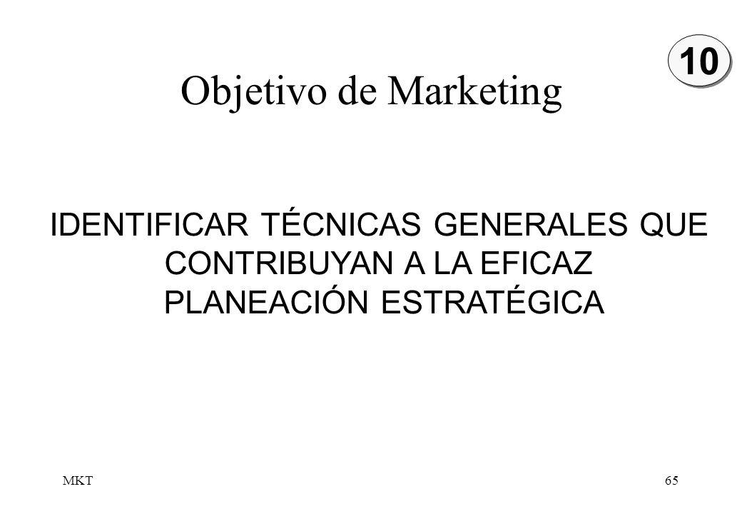MKT65 Objetivo de Marketing IDENTIFICAR TÉCNICAS GENERALES QUE CONTRIBUYAN A LA EFICAZ PLANEACIÓN ESTRATÉGICA 10