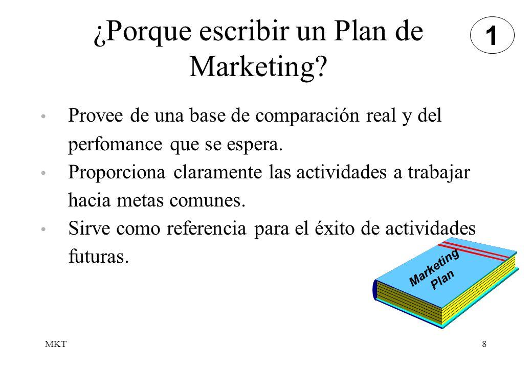 MKT8 ¿Porque escribir un Plan de Marketing? Provee de una base de comparación real y del perfomance que se espera. Proporciona claramente las activida
