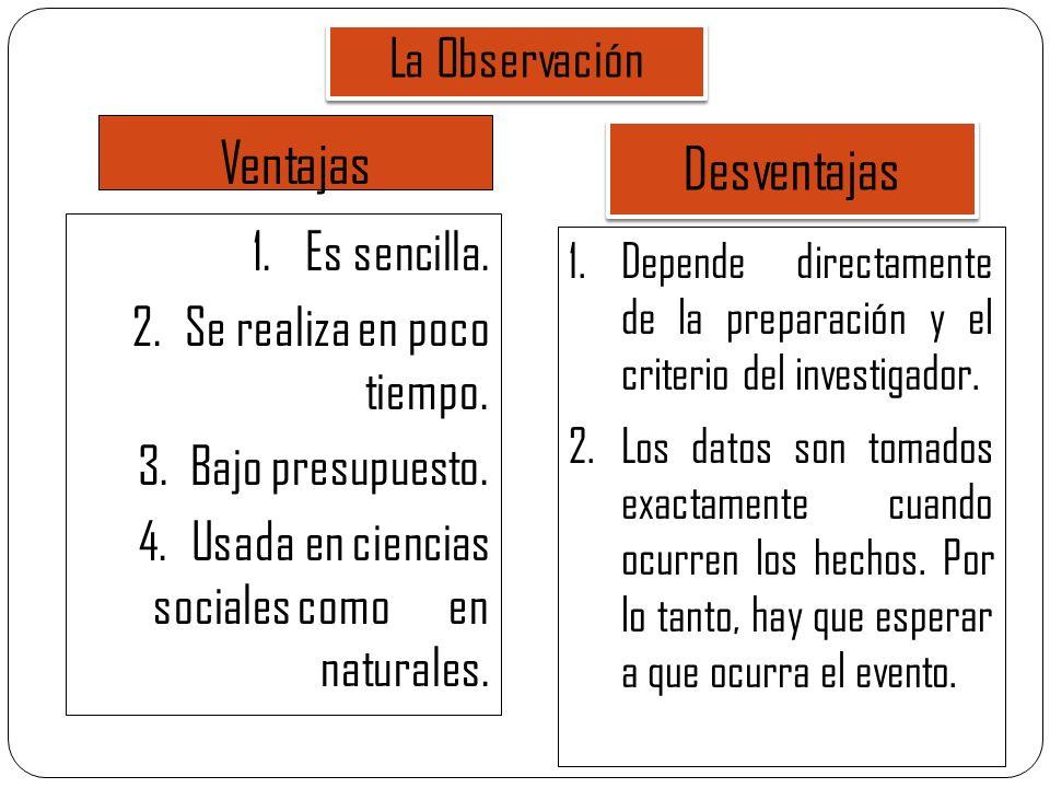 Ventajas 1.Es sencilla. 2.Se realiza en poco tiempo. 3.Bajo presupuesto. 4.Usada en ciencias sociales como en naturales. La Observación Desventajas 1.