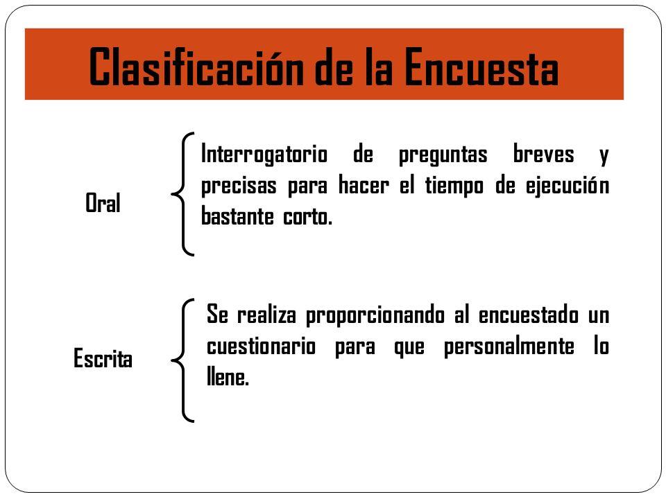 Clasificación de la Encuesta Se realiza proporcionando al encuestado un cuestionario para que personalmente lo llene. Oral Interrogatorio de preguntas