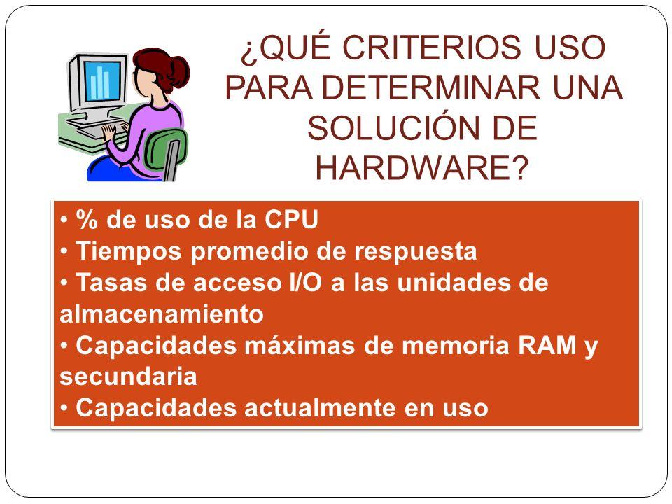 ¿QUÉ CRITERIOS USO PARA DETERMINAR UNA SOLUCIÓN DE HARDWARE? % de uso de la CPU Tiempos promedio de respuesta Tasas de acceso I/O a las unidades de al